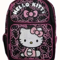 Sanrio Hello Kitty Large Backpack - Black with Pink Glitter