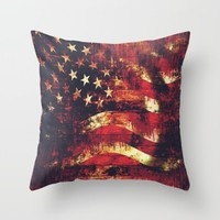 Old Glory Throw Pillow by Timothy Davis