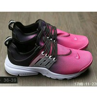 Tagre™ Nike Air Presto casual men and women sports running tide shoes F-HAOXIE-ADXJ Black + rose red toe