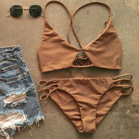 CUTE BROWN TAN HOLES TWO PIECE BIKINI