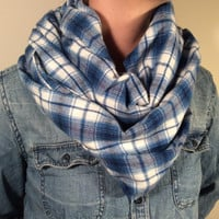 Handmade Infinity Scarf Plaid Flannel - Double Layer Super Warm!  Back to School, Blue and White, Christmas Present, Stocking Stuffer