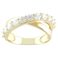 14k Gold Plated Wht CZ CrossOver Ring