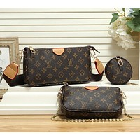 Women Fashion Leather Crossbody Satchel Shoulder Bag Set Three Piece