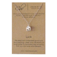 Good Luck Necklace- Silver Elephant Necklace Symbolic Gift Ideas Best Wishes Blessing Message Jewelry Meaningful Animal Christmas Gift