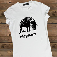 Women's Tshirt elephant, Ladies White T Shirt,Screen Printing T shirts,Women's T-Shirts,  Tshirt,Size S, M, L
