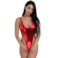 Patent Leather Swimwear Women Sexy Shiny One Piece Swimsuit Beachwear Swim Suit Soild Girls Thong Leotard Bathing Suits Monokini