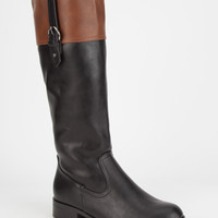 Soda Visa Two-Tone Womens Riding Boots Black Combo  In Sizes