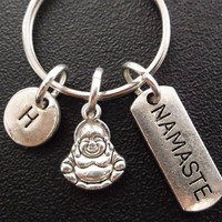 Namaste, Buddha yoga Inspired keyring, keychain, bag charm, purse charm, monogram personalized item No.300