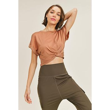 Mono B Twisted Front TENCEL Cropped Athleisure Top