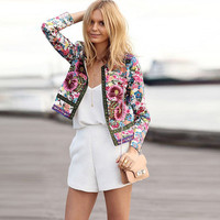 Floral Print None Button Long-Sleeve Cardigan