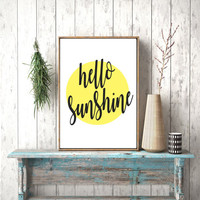 Instant download, Hello Sunshine Printable Art, Digital Prints, Typography Print, Hand Lettering, Wall Art Quotes, Wall Art, Typography Wall