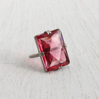 Antique Sterling Silver Pink Glass Ring - Vintage Art Deco 1920s 1930s Size 7 Faceted Statement Jewelry / Rectangular Princess