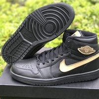 Nike Air Jordan Retro 1 Black Gold AJ1 Discount Men Sports Basketball Shoes Sale Onlin