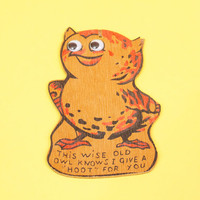 Vintage Wise Owl Wall Hanging Postcard Homemade Wood Craft Project w Googly Eyes