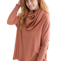 Warm Me Up Cowl Sweater In Brick