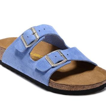 Men's and Women's BIRKENSTOCK sandals Arizona Soft Footbed Suede Leather 632632288-007