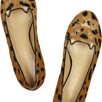 Charlotte Olympia | Kitty embroidered animal-print calf hair slippers | NET-A-PORTER.COM