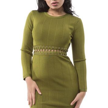 Long Sleeve Gold Chain Detail Bandage Dress - Olive