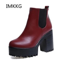 2017 New Women Boots Platform High Heels Ankle Boots Women Fashion Ladies Pumps Sexy Shoes Woman Size 35-39 S416