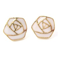 Classic Rose Outline Floral Flower Shaped Stud Earrings in White on Gold