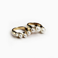 Moon Gleam Gold and Pearl Ring