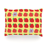 """Jane Smith """"Seasons Summer"""" Yellow Red Oblong Pillow"""