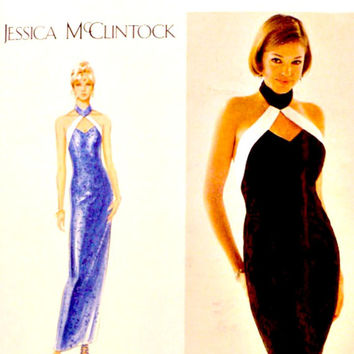 Evening Cocktail Slim Halter Dress Pattern Neck Band Jessica McClintock 90s Vintage Simplicity 9262 Sewing Patterns Uncut Size 4 6 8