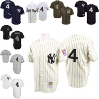 White Throwback Lou Gehrig Authentic Jersey , Men's #4 Mitchell And Ness New York Yankees