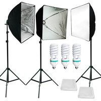Photo Studio 3PCS Softbox Photo Video  Lighting Light Stand Lamp Kit