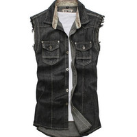 Men's Casual Retro Slim Fit Sleeveless Denim Vest Outwear Black