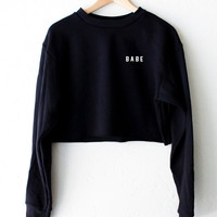 Babe Oversized Cropped Sweater - Black
