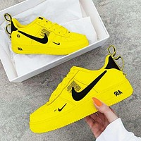 Bunchsun NIKE AIR FORCE 1 DUMR New fashion hook couple shoes Yellow