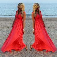 Women Sexy V-Neck Summer Dresses Boho Casual Loose Beach Long Maxi Chiffon Dress