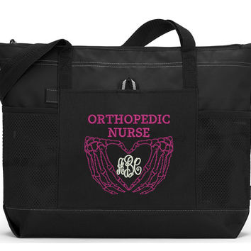 Monogrammed Orthopedic Nurse / Xray Tech Embroidered Zippered Tote Bag