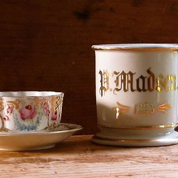 Vintage Shaving Mug, 1923, Hand Painted Gold Initials, Germany, Coffee or Tea Cup