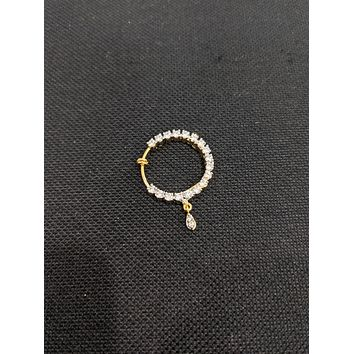 CZ stone 2 tone plated Clip on Nose ring - Large