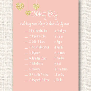 Pink and gold celebrity baby name game baby shower game printable for girl baby shower pink with gold glitter hearts digital file diy