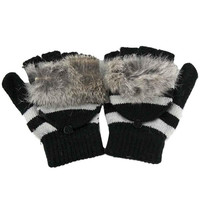 New Fashion   Mittens For Womens Knitted Warm  Gloves Female Faux Fur Pompom Ball Gloves Women guantes mujer GS