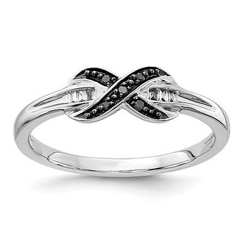 14k White Gold Black And White Diamond Infinity X Ring