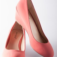 Classic Closed Toe Wedge Pumps - Coral