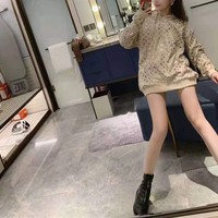 """Louis Vuitton"" Women Hot Stamping All-match Fashion Letter Logo Loose Long Sleeve Sweater Tops"