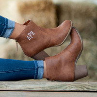 Brown Monogrammed Ankle Boots