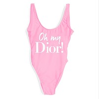 DIOR 2018 Female Sexy High Quality Delicate One Piece Swimsuit Bikini F-ZDY-AK Pink+white letters