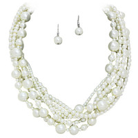 Romantic 6 Strand Statement Look Glass Pearl Necklace with Matching Drop Earrings Bridal Bridesmaid Wedding