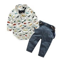 Baby Boys Clothing Sets Summer Infant Clothing Toddler Gentleman Suits Long Sleeve Shirts + Suspenders Pant