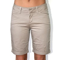 "Dickies Girl - 9"" College High Rise Slim Fit Khaki Shorts"