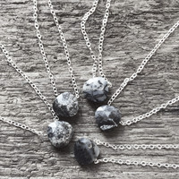"""#Mostly Black - Random -  Dendritic Opal 18"""" Sterling Chain - Flash Sale Pricing"""
