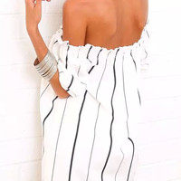 White Striped Strapless Off-Shoulder Mini Dress