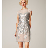 Mignon Spring 2014 Dresses - Silver Pearl Bateau Beaded Short Prom Dress