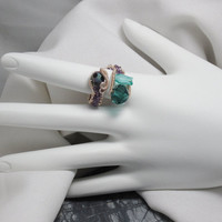 Czech Crystal Bead Adjustable Wire Wrapped Copper RIng